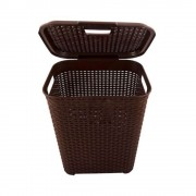 Cos pentru Rufe din Plastic, 40x32.5x50 cm, Capacitate 45L, Culoare Maro, Cosuri pentru Rufe din Plastic, Cos pentru Rufe fara Maner, Cos pentru Rufe cu Capac, Cos din Plastic pentru Haine, Accesorii Baie
