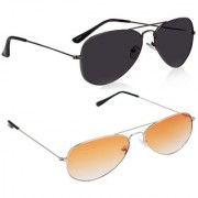 Magjons Fashion Combo Of Full Black Orange Aviator Sunglasses