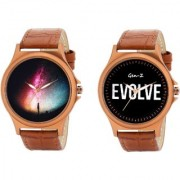 Gen-Z Trendy Graphic Leather Strap Colorful Combo of 2 watches for Men GENZ-CO-COL-EVO