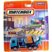"""2009 Matchbox 4"""" Real Working Rigs Die Cast, (Blue/Teal Flores Cement) 2007 Mercedes Actros Cement Mixer Truck, Articulated W/Rotating Drum"""