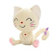 Lepakshi White Squint Smile 20Cm Emoji Pillow Expression Cat Plush Toys Sitting Smilies Cat Doll S
