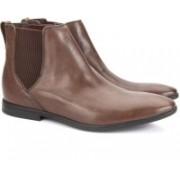 Clarks Bampton Top Tan Leather Boots For Men(Tan)