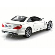 Mercedes-Benz SL65 AMG, Pearl White - Bburago 21066 - 1/24 scale Diecast Model Toy Car