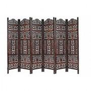 Shilpi Handicrafts Wooden Partition Leaf Design Decor Room Divider Screen Panel (6)