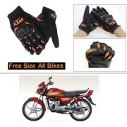 AutoStark Gloves KTM Bike Riding Gloves Orange and Black Riding Gloves Free Size For Hero HF
