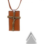 Dare by Voylla Jesus Christ Pendant in Leather Chain & Triangle Stud combo
