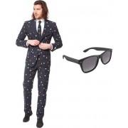 Pac-Man print heren kostuum / pak - maat 48 (M) met gratis zonnebril