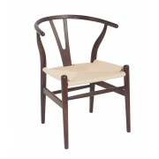 Replica Hans Wegner Wishbone Chair - Dark Walnut Frame (grain not visible) Natural seat - Beech Timber
