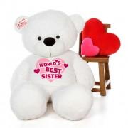 5 feet big white teddy bear wearing Worlds Best Sister T-shirt
