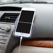 Universal Transparent Storage Box Dashboard Car Mount Phone Holder for iPhone Xiaomi Cell Phone
