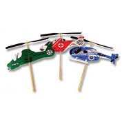 Guillow Copter Toy Set - 3 Rubber Band Powered Wind Up Flying Copter Toys in One Set - Search & Rescue, Military, and Police Copters (3 Copters Included) by Guiloow