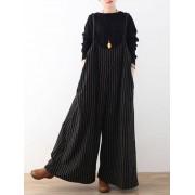 Meco Plus Size Casual Women Stripe Wide Leg Pants Playsuits