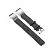 For Garmin Vivosmart HR+ PU Leather Watch Strap with Connector and Tool - Black