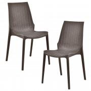 [casa.pro]® Set vrtne stolica - 2 komada - sa ratan efektom (smeđa, 89x44x55,5 cm)