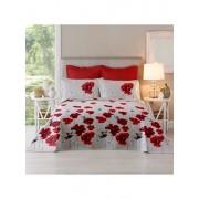 Lenjerie pentru pat matrimonial, Dormisete, renforce, imprimata, 220 x 250 cm, Poppy field-lollipop, bumbac, Alb/Rosu
