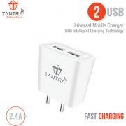Tantra Dual USB Fast Charger for Mobile 2.4 AMP with High Speed Charging Data Cable + Dual USB Adapter with Data Cable