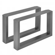 [en.casa]® 2 x Conjunto de Patas de mesa - Set de 2x patas de mesa - Metal - Patas de los muebles - 64 x 40 cm - Para mesa de centro - Armazón de mesa - Con protección para suelo - Gris metálico