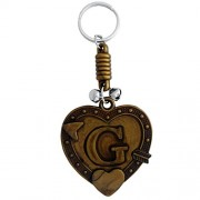 The Marketvilla Two Sided Keychains Alphabet Initial Letter G Valentine Heart Shape Keychain With Metal Key Ring For Kids, Men, Women, Boys & Girls