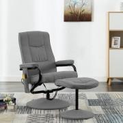 vidaXL Fotoliu de masaj rabatabil suport picioare gri deschis textil