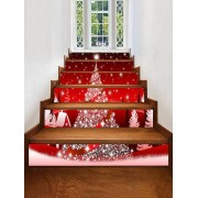 Rosegal Autocollants d'Escaliers Décoratifs Sapin de Noël Imprimé 6pcs x 39 x 7 pouces (Sans Cadre)