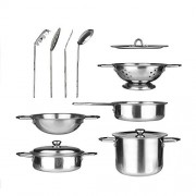 Lvnv Toys@ The Best 11 Pieces Kitchen Pretend Toys Stainless Steel Cookware Playset For Kids
