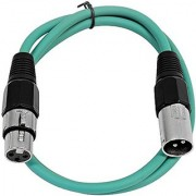 SEISMIC AUDIO - SAXLX-2 - 2' Green XLR Male to XLR Female Patch Cable - Balanced - 2 Foot Patch Cord