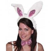 Merkloos Hazen/konijnen witte oren diadeem met roze strik