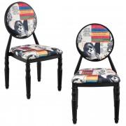 [en.casa]® Дизайнерски стол , комплект от 2 броя, Черни