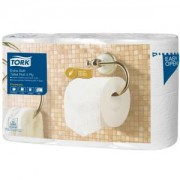 Essity Professional Hygiene Germany GmbH Tork Kleinrollen Toilettenpapier T4 Premium, 4-lagig, weiß, Perforiert & mit Dekoprägung, extra weich & voluminös, 1 Packung = 6 Rollen, 1 Rolle = 150 Blatt