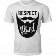 T-Junkie Camiseta Respect the beard - Hombre - Blanco - S - Blanco