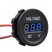 Okrúhly vodotesný voltmeter 12V/24V modrý