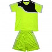 Детски футболен екип фланелка с шорти електриково зелено и черно