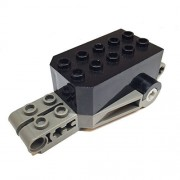 Parts/Elements - Motors Lego Parts: Pullback Motor 9 x 4 x 2 1/3 with Dark Gray Base - Black Top White Axle Holes Studs on Front Top Surface