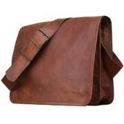 Genuine Leather Bag Messenger Bag Leather Office School College Laptop Shoulder Bag Real Brown Briefcase Leather Cross-Body Bag For Men/Women/Boys/Girls ZNT LEATHERS