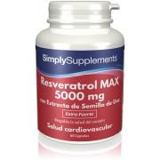 Simply Supplements Resveratrol MAX 5000 mg con Extracto de Semilla de Uva - 60 Cápsulas