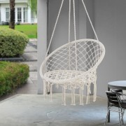 Висящ стол/Хамак 150 kg, стоманени скоби, Кремав [casa.pro]®