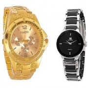 Rosra Gold and IIK Black-Silver Women Couple Watches for men ans Women