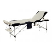 Łóżko do masażu 3 segmentowe aluminiowe dwukolorowe czarno - białe