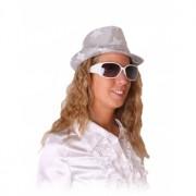 Rock en roll bril wit met glitters