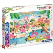 Puzzle Clementoni SuperColor Brilliant Puzzle Flamingos Party, 104 piese