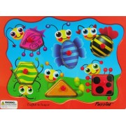 Puzzled Wooden Peg Puzzle - Insects Shapes