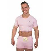JJ Malibu Fun Cropped Fitness Slim Fit Crop Top Short Sleeved T Shirt Cotton Candy JJTOP010