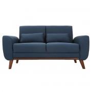 Miliboo Design-Sofa 2 Plätze Stoff Blau und Füße Nussbaum EKTOR