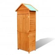 vidaXL Градински шкаф за съхранение, кафяв, 79x49x190 см