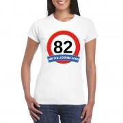 Bellatio Decorations 82 jaar verkeersbord t-shirt wit dames XL - Feestshirts
