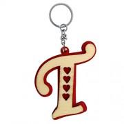 The Marketvilla Single Sided Wooden Keychains Alphabet Letter Initial T Valentine Heart Shape Keychain With Metal Key Ring For Kids, Men Women Boys & Girls