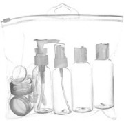 Di Grazia Travel Accessories, BPA Free Toiletries Storage Set with Leak Proof Bottles, Refillable Cosmetic Travel Containers(Set of 6) Travel Toiletry Kit(White)