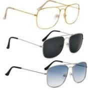 Phenomenal Aviator Sunglasses(Clear, Black, Blue)