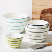 Avery Striped Mixing Bowls, Set of 4