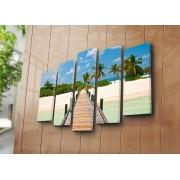 Tablou decorativ pe panza Sightly, 252SGH1342, 5 Piese, panza